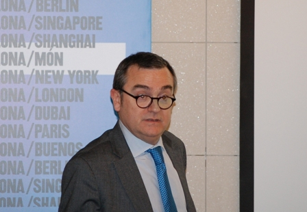 Joan Miquel Hernández, jefe del Área de Desarrollo Empresarial del Departamento de Empresa y Ocupación de la Generalitat, en un momento de su intervención