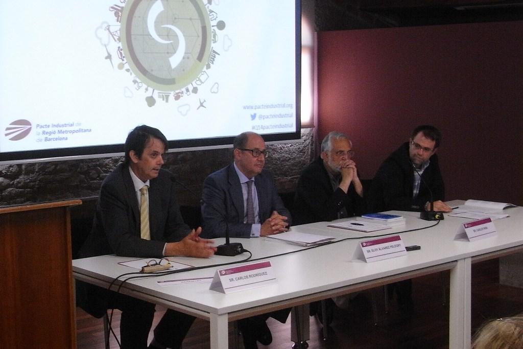 De izq. a dcha.: Carlos Rodríguez, Eloy Álvarez Pelegry, Carles Riba y Antoni Fuentes