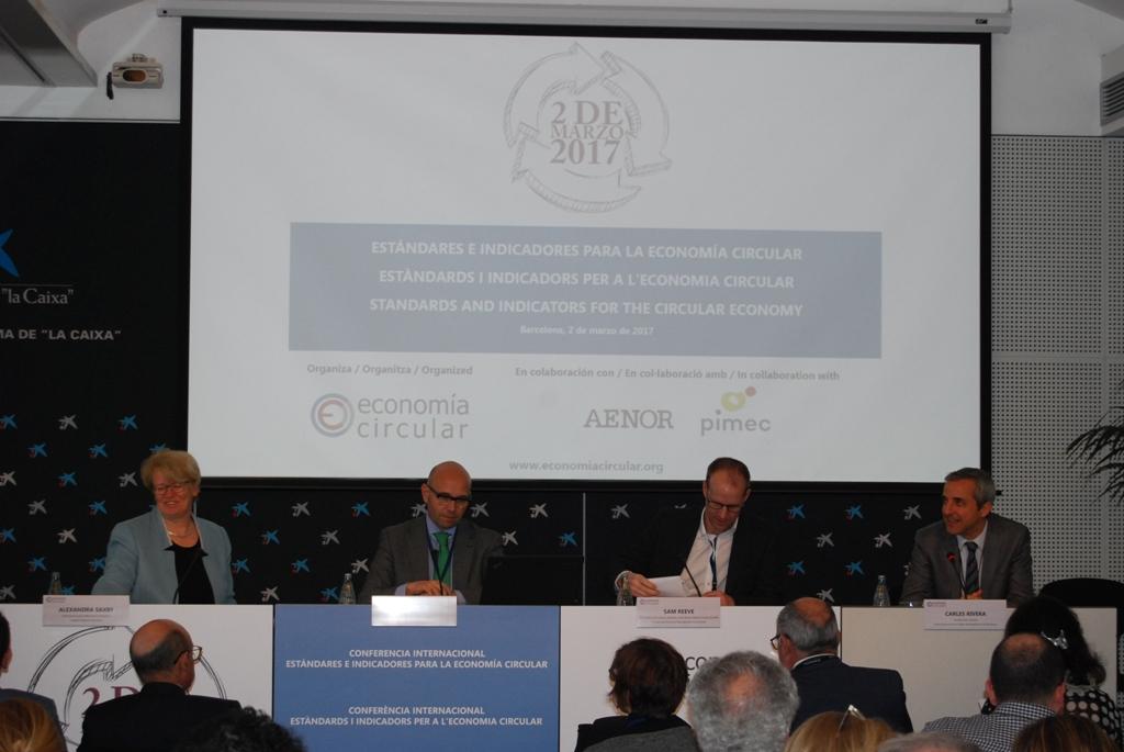 D'esq. a dta.: Angela Saxby, José Magro, Sam Reeve i Carles Rivera. Foto: Fundación para la Economía Circular