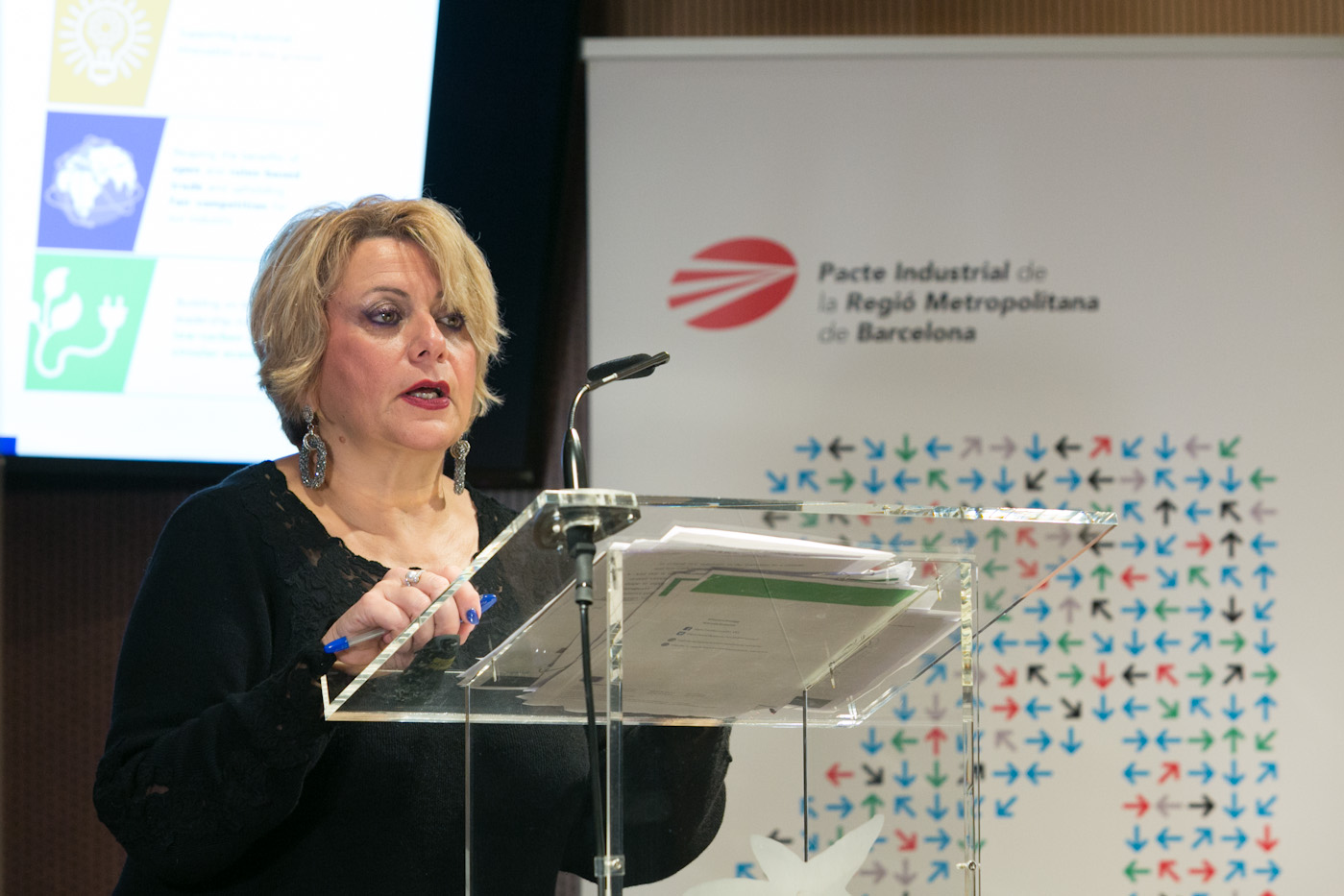 Joanna Drake, directora general adjunta de Medi Ambient de la Comissió Europea, durant la seva intervenció al cicle #HoritzóIndústria (17-01-2018)